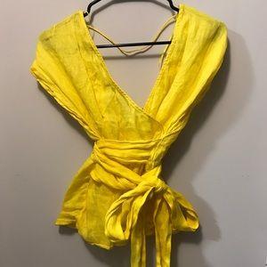 Yellow linen wrap top (Zara)